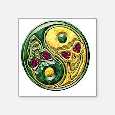 "Yin Yang Jade Ruby Skulls M Square Sticker 3"" x 3"""