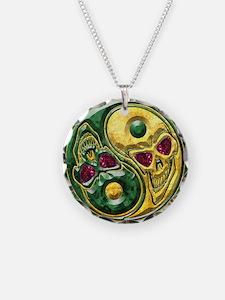 Yin Yang Jade Ruby Skulls Medallion Necklace