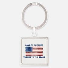 Land Of The Free Thanks To The Brave Keychains