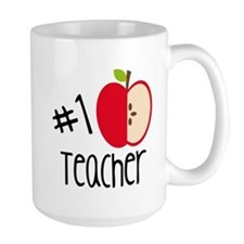 #1 Teacher With Red Apple Mugs