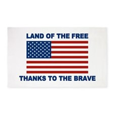 Land Of The Free Thanks To The Brave 3'x5' Area Ru