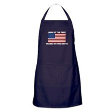 Land Of The Free Thanks To The Brave Apron (dark)