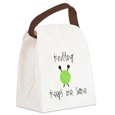 Knitting Keeps Me Sane Canvas Lunch Bag