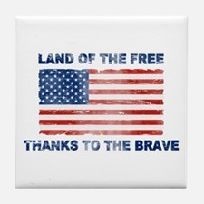Land Of The Free Thanks To The Brave Tile Coaster