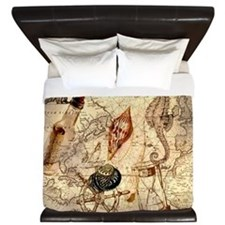 seashells nautical map vintage anchor King Duvet