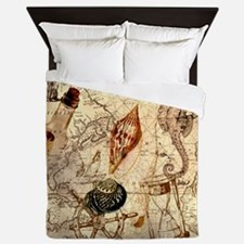 seashells nautical map vintage anchor Queen Duvet