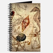 seashells nautical map vintage anchor Journal