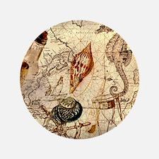 "seashells nautical map vintage anchor 3.5"" Button"