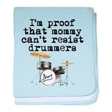 Mommy Cant Resist Drummers baby blanket