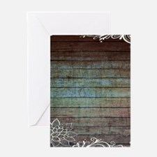 modern lace woodgrain country decor Greeting Cards