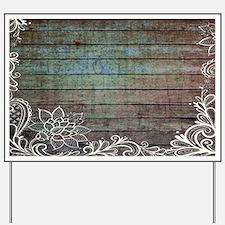 modern lace woodgrain country decor Yard Sign