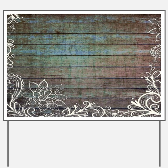 modern lace woodgrain country decor Yard Sign