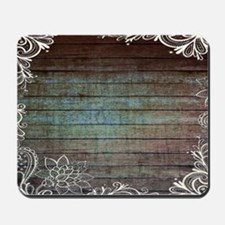 modern lace woodgrain country decor Mousepad