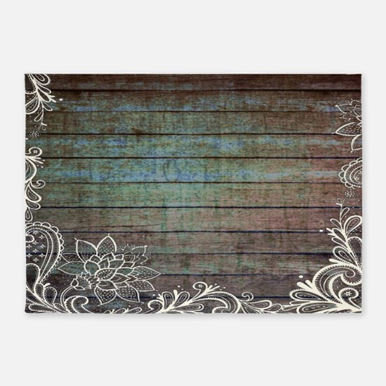 modern lace woodgrain country decor 5'x7'Area Rug