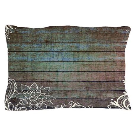 Modern Country Pillows : modern lace woodgrain country decor Pillow Case by vintagedecor2