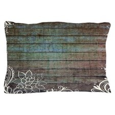 modern lace woodgrain country decor Pillow Case