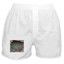 modern lace woodgrain country decor Boxer Shorts