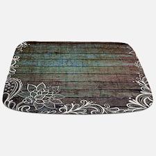 modern lace woodgrain country decor Bathmat