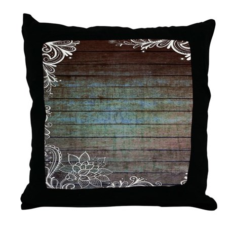 Modern Country Pillows : modern lace woodgrain country decor Throw Pillow by vintagedecor2