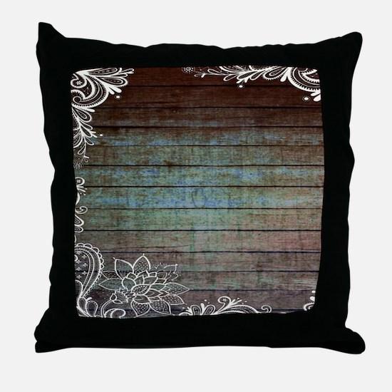 modern lace woodgrain country decor Throw Pillow