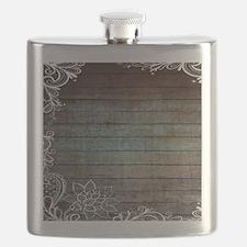 modern lace woodgrain country decor Flask