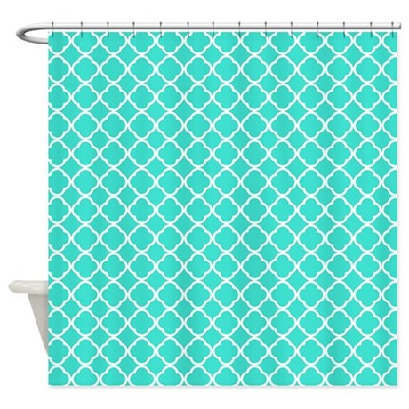 turquoise quatrefoil pattern shower curtain by familyfunshoppe