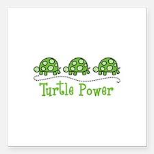 "Turtle Power Square Car Magnet 3"" x 3"""