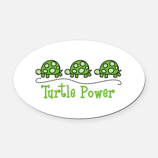 Turtle Power Oval Car Magnet