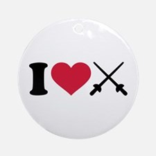 I love Fencing crossed epee Ornament (Round)