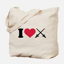 I love Fencing crossed epee Tote Bag