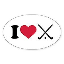 I love Field hockey clubs Decal