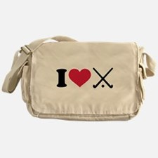 I love Field hockey clubs Messenger Bag