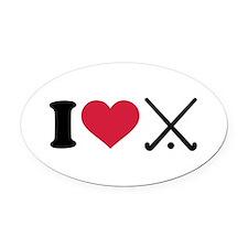I love Field hockey clubs Oval Car Magnet