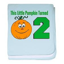 Little Pumpkin Turned Two baby blanket