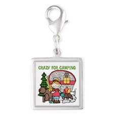 Blond Crazy For Camping Silver Square Charm