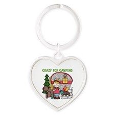 Blond Crazy For Camping Heart Keychain