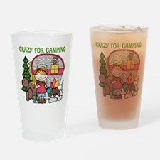 Blond Crazy For Camping Drinking Glass