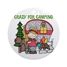 Blond Crazy For Camping Ornament (Round)