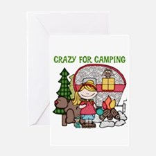 Blond Crazy For Camping Greeting Card