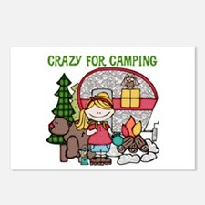 Blond Crazy For Camping Postcards (Package of 8)