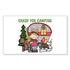Blond Crazy For Camping Decal