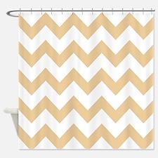 Tan Chevron Stripes Shower Curtain