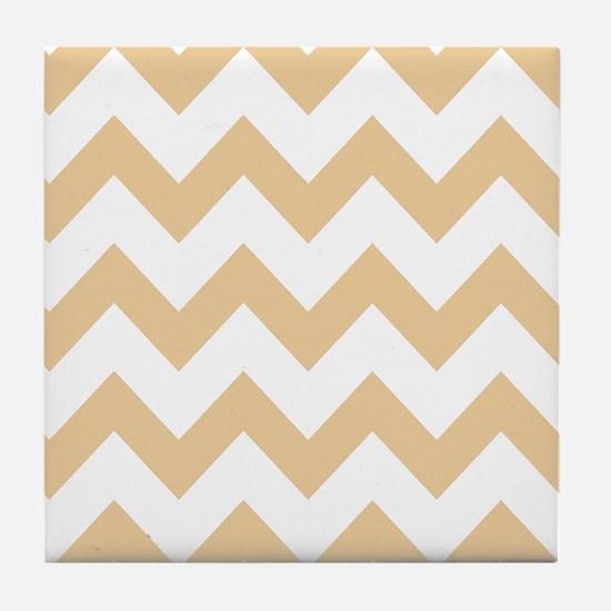 Tan Chevron Stripes Tile Coaster