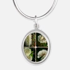 Dandelion Collage Silver Oval Necklace