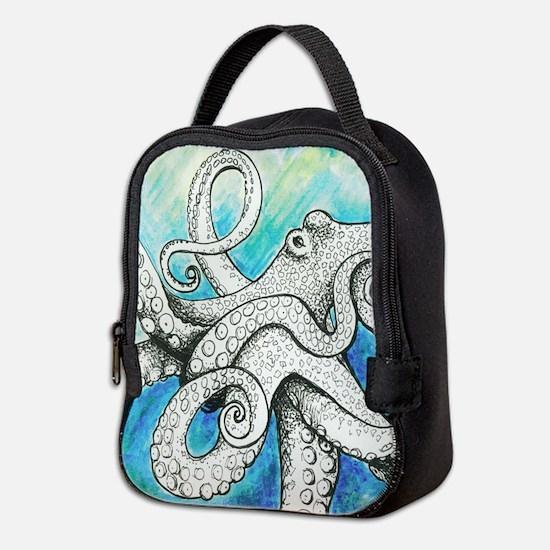 Wild Blue Octopus Neoprene Lunch Bag