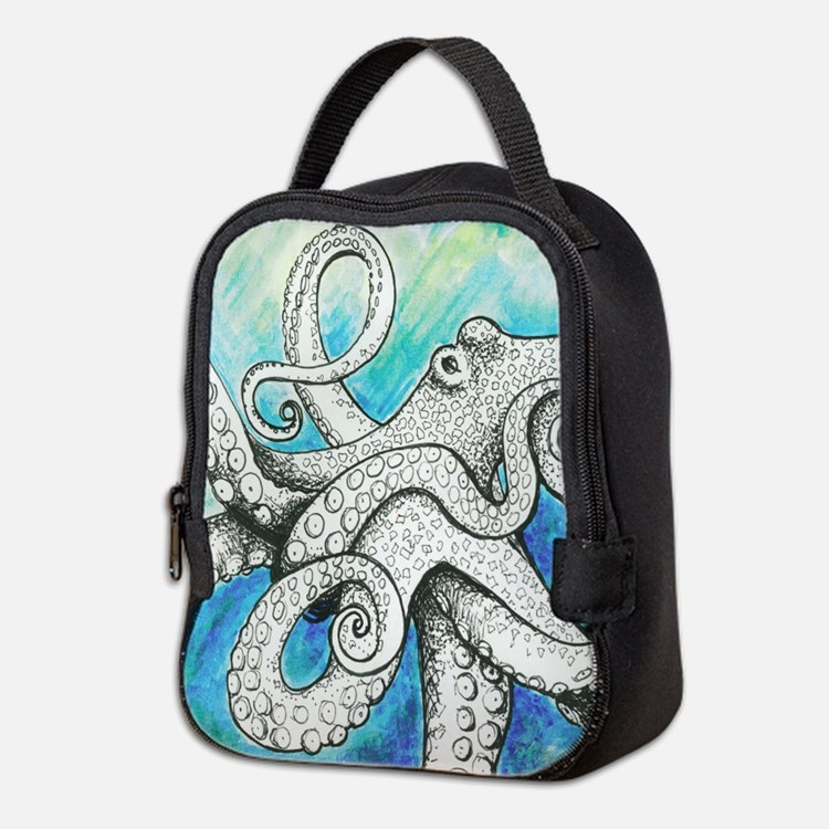 Wild Blue Octopus Neoprene Lunch Bag