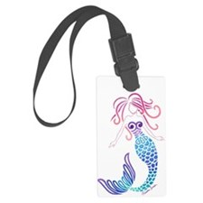 White Tribal Mermaid Luggage Tag