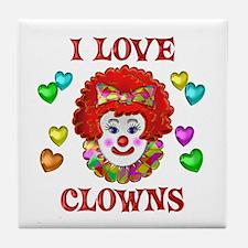I Love Clowns Tile Coaster