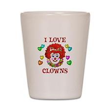 I Love Clowns Shot Glass