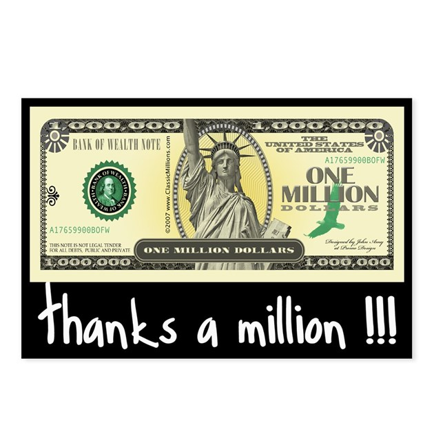 Thanks A Million Postcards Package Of 8 By Classicmillions